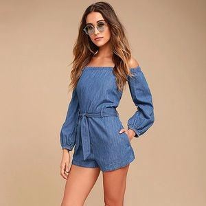 Free People Tangled in Willows Denim Romper